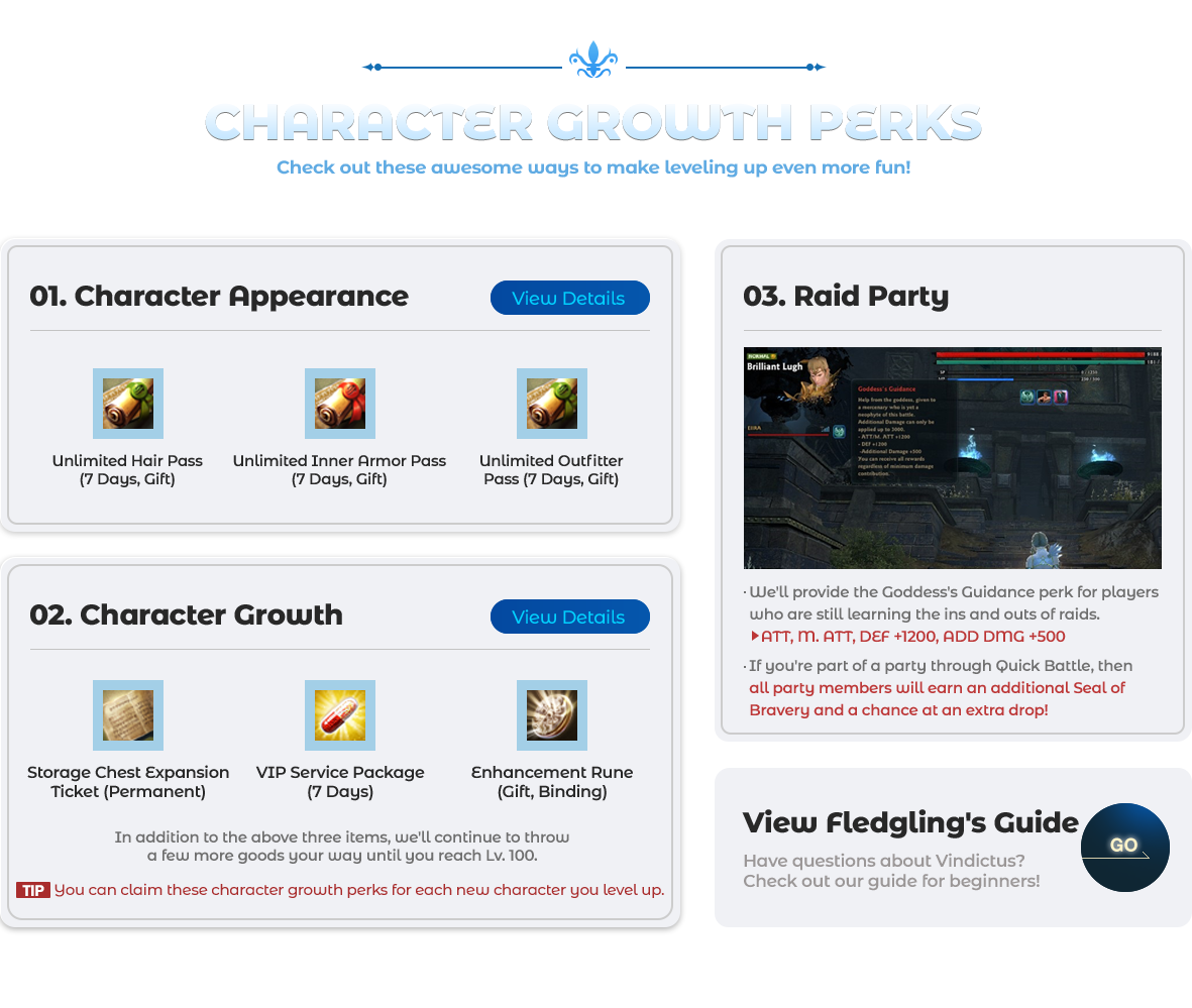 Character Growth Perks Check out these awesome ways to make leveling up even more fun!